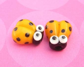 2 Glass Ladybug Beads, Lampwork Ladybug Beads, Glass Ladybugs, 14mm Beads, Yellow Ladybug, Yellow Ladybird, SRA Handmade Lampwork - J