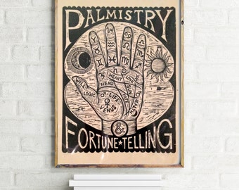 Occult Art, Palm Reading Chart Woodcut Print, Hand Printed Fortune Telling Wall Art, Palmistry Poster, Occult Art, Goth Art
