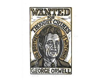Art, Literary Art Print, George Orwell Art Print, Linocut Art Print George Orwell, 1984 Linocut Print Wall Art