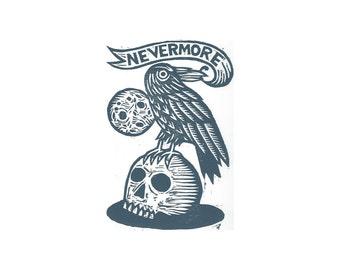 Art, Edgar Alan Poe Art, Linocut Art Print, Edgar Allan Poe Woodcut Art Print, Nevermore Raven Literary Art Wall Decor