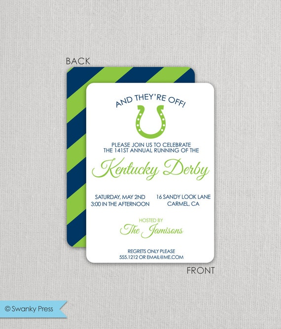 Kentucky Derby Invitation - Derby  Party Invitation - Run for the Roses - Horseshoe Invitation with preppy stripes