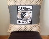 Decorative Throw Pillow- Birds and Nest- vintage sari fabric linen- 20 inch square