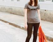 Roam Sweet Roam graphic tee for women, heather brown tri-blend tshirt by Blackbird Tees - CLOSEOUT