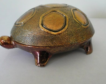 Vintage Jewelry Casket Solid Brass Turtle Trinket Box JAPAN