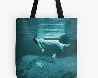 Just Float -  Tote Bag or Greeting Cards,  Cool Water, Summer, Swimming, Floating Woman