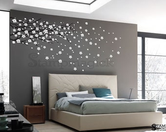 Blowing Cherry Blossoms Wall Decal - Cherry Blossoms Branch Wall Decal - Vinyl Wall Art Graphics Decor - Vinyl Wall Decal - K152