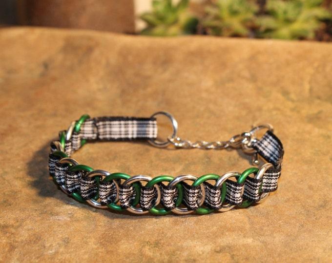 Menzies Tartan Bracelet Green, Silver-colored rings Ribbonmaille