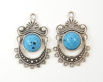 Turquoise Antique Silver Boho Tribal Chandelier Earring Findings |B4-2|2