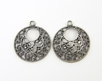 Tribal Antique Silver Round Hoop Earring Finding Ethnic Filigree Pendant Drop Charm |S8-6|2