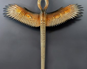 Winged Ankh Of The Forest wood sculpture by Jason Tennant
