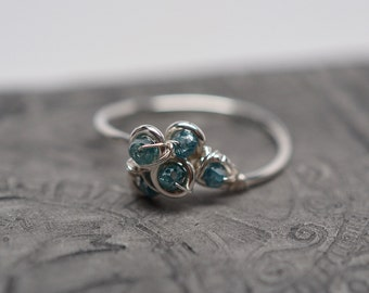 Sterling silver & blue diamond beaded cluster wirework ring