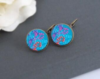 Nature Woodlands Sakura Blossom Earrings. Sakura in Pink, Purple, Blue. Wood Cabochon Nickel Free Earrings. Best Friends, Sisters, Gift