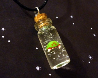Metroid - Mini Metroid in a Bottle Charm Necklace