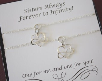 Sister Infinity Bracelets, Infinity heart charm, Bridesmaid Gift, Sterling Silver, Silver Infinity Bracelet, Gift Set, Card