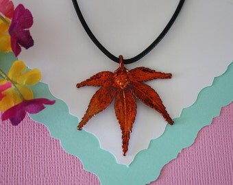 Copper Maple Leaf, Real Leaf, Japanese Maple Leaf, Copper Maple, Real Maple Leaf Necklace, LL65