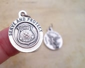 Serve and Protect Police Medal with Archangel Michael, Patron Saint Charm, Rosary Parts, Catholic Jewelry Supplies