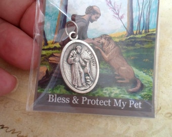 St. Francis Bless and Protect My Pet Medal, Gift Packaged, Francis of Assisi, Pet Lover