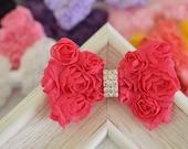 New! Handmade Chiffon Rosette Bow--rose glow (FB1058)