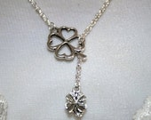 Lucky Celtic Four Leaf Clover Silver Lariat Necklace