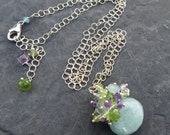 Aquamarine necklace in sterling silver - amethyst and peridot - gemstone jewelry - undersea colors - mermaid style - purple and green