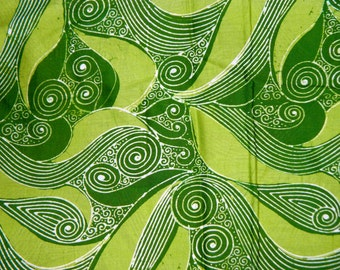 1970's Indonesian Batik Fabric, Java, Indonesia, Folklore, Lime Green, Wall Decor, Quilting Fabric, Bohemian, Boho, Hippie