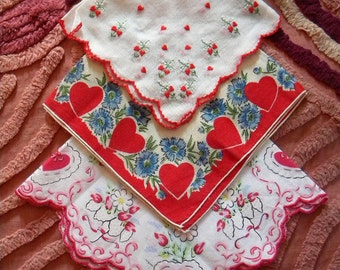3 Vintage Valentine's Handkerchiefs Hearts and Scalloped Edges
