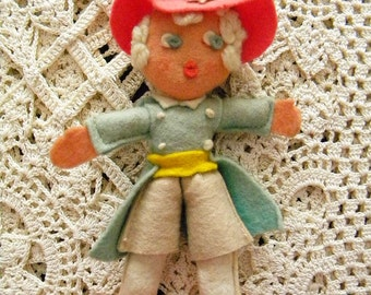 Vintage Felt Doll Little Pilgrim Hand Made Folk Art