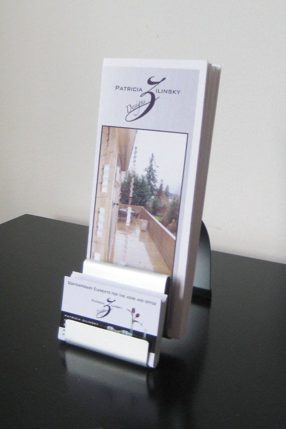 Modern metal brochure and business card holder combo for Modern business card case