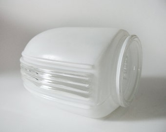 Deco Glass Light Shade / Light fixture – Vintage Deco Style Frosted + Clear Glass