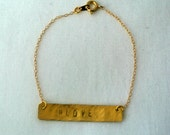 Personalized Bracelet Hand Stamped Gold Bar with Hashtag - Hashtag Jewelry 14kt Gold Filled - Gift for her
