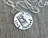 Stay Focused Hand Stamped Sterling Silver Photographer Camera Charm Necklace, Photography Jewelry, Camera Charm, Sterling Silver Disc