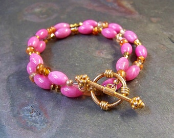 Pink Wrap Bracelet with Bali Gold Vermeil Toggle Clasp | Beaded Glass Bracelet | 14kt Goldfill and Pink Jewelry | Handmade Crystal Bracelet