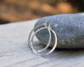 Sterling Silver Hoops - Petite, Argentium Sterling, Hammered, Shiny Finish, Plain Hoops