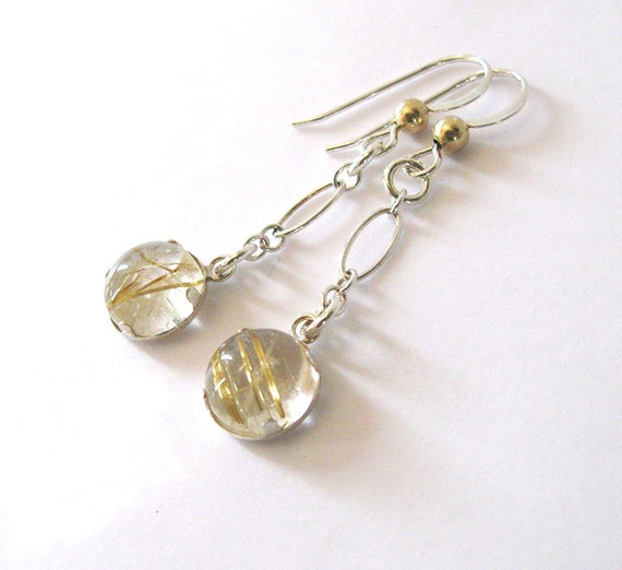 Gold rutilated quartz dangling earrings by sendinglovegallery for Golden rutilated quartz jewelry