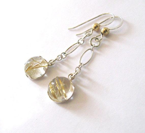 Gold rutilated quartz dangling earrings by sendinglovegallery for Golden rutilated quartz jewelry
