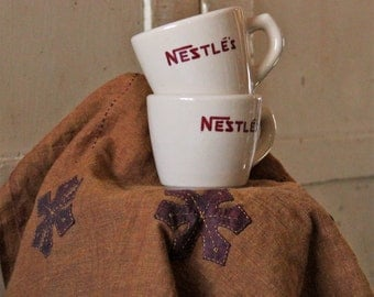 Nestle's - Restaurant Ware Tan Mug - Sterling China - J L Pasmantier - Listing is for One Mug - Hot Cocoa - Chocolate - Nestle's Advertising