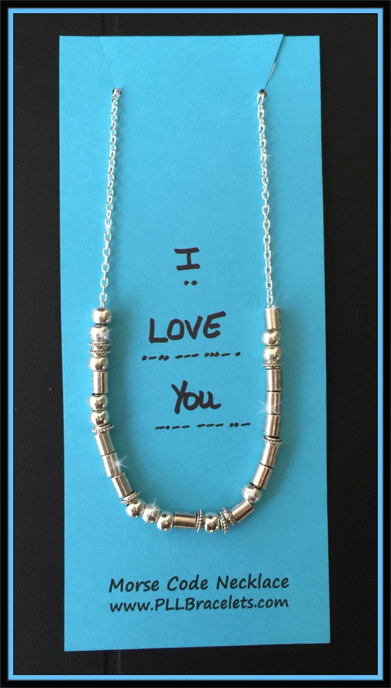 Morse Code Silver Necklace / Morse Code Jewelry / Custom Name Necklace / I Love You / Custom Word Necklace / Friendship Necklace / BFF