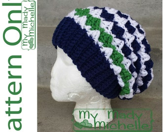 PDF PATTERN ONLY for adult crochet slouchy hat