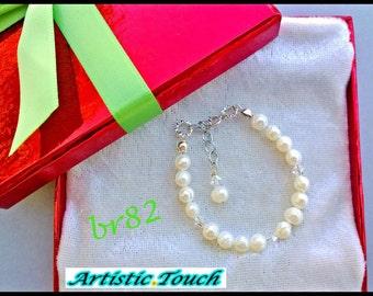 Kid's Bracelet 6in child's adjustable white 4-5mm potato freshwater pearl bracelet,clear crystal, baby bracelet, flower girl bracelet bridal