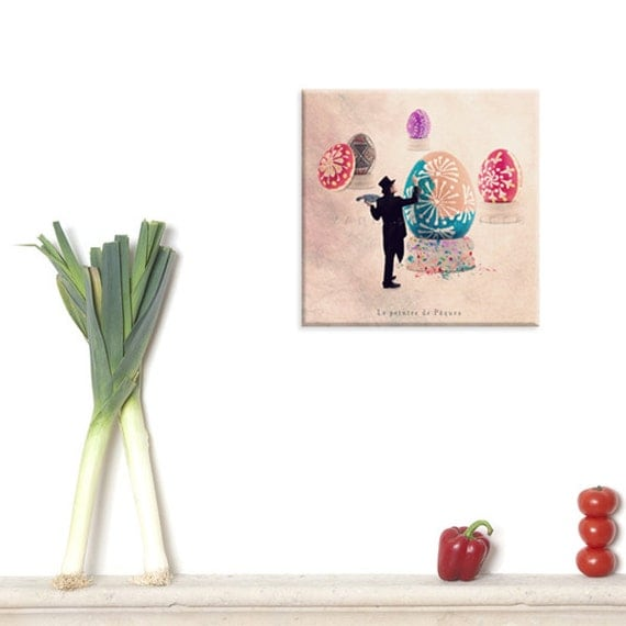 photography canvas, canvas print, Canvas Gallery Wrap, Easter egg, Still life for a modern kitchen, Easter Decoration