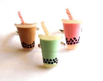 Boba Tea Ring Bubble Tea Ring Kawaii Bubble Tea Jewelry Thai Tea Charm - Miniature Food Jewelry