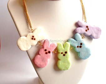 Marshmallow Bunny Statement Necklace Easter Necklace Pastel Candy Necklace Miniature Food Jewelry Kawaii Necklace