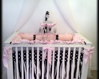 Crib Canopy Crown Princess Bed Black White polka dot with WHITE sheers INCLUDED SALE