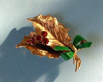 St. Labre Holly Leaves and Berries Vintage Pin Brooch