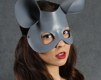 Mouse Mask in Gray Leather