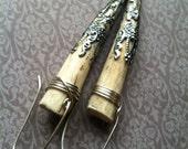 Filgree Antler Earrings Wire Wrap Earrings Real Deer Antler Jewelry Dangle Earrings Rustic Jewelry Daniellerosebean Antler Drop Earrings