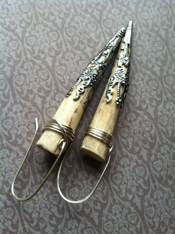 antler earrings tribal boho rustic earrings real