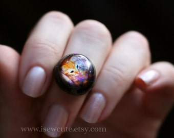 Galaxy ring, Hubble Infant Stars & Awesome Tiger Kitten Galaxy Stardust Ring, Space Exploration Jewelry Out of this World Fashion Statement