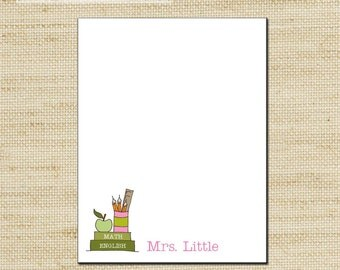 Teachers Gifts, Custom Notepad, Personalized Notepads, Notepad, Note Sheets with Teachers Books & Pencils