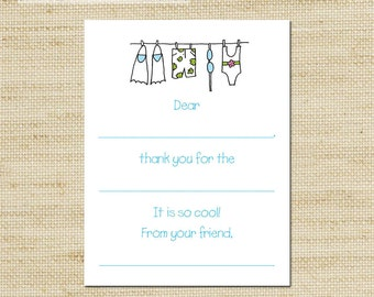 Eco-Friendly Pool Party Kids Clothes Line Fill In Thank You Cards - 10cards & envelopes